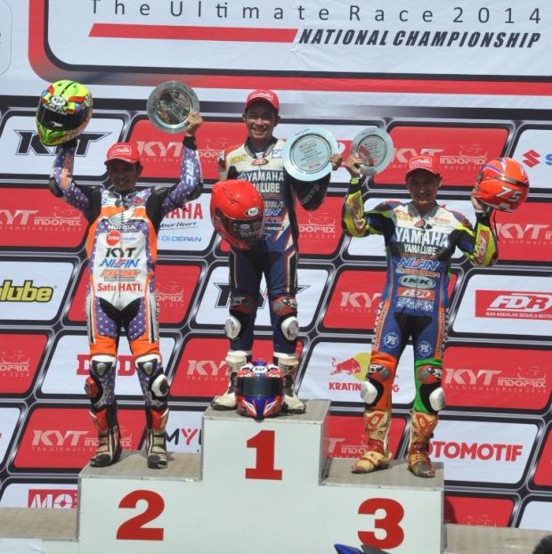Fitriansyah Kete di podium pertama race kelas 110cc seri 3 Indoprix 2014